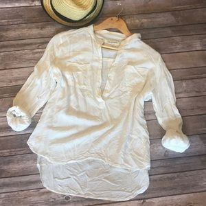 Crinkle beach cover high low top blouse shirt